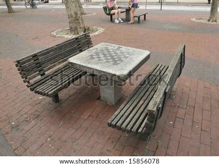 New York park chess table - stock photo