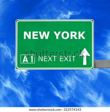 NEW YORK road sign against clear blue sky - stock photo