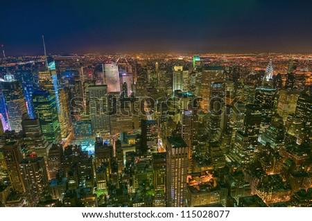 New York's Midtown night view. - stock photo