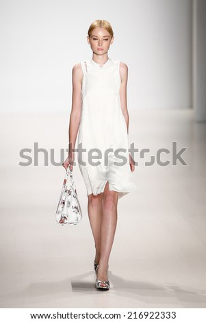 NEW YORK-SEP 8: A model walks the runway at the OUDIFU fashion show during Mercedes-Benz Fashion Week Spring/Summer 2015 at The Salon at Lincoln Center on September 8, 2014 in New York City. - stock photo