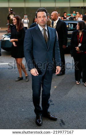 """NEW YORK-SEP 26: Actor Ben Affleck attends the world premiere of """"Gone Girl"""" at the 52nd New York Film Festival at Alice Tully Hall on September 26, 2014 in New York City. - stock photo"""