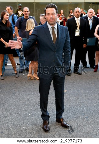 "NEW YORK-SEP 26: Actor Ben Affleck attends the world premiere of ""Gone Girl"" at the 52nd New York Film Festival at Alice Tully Hall on September 26, 2014 in New York City. - stock photo"