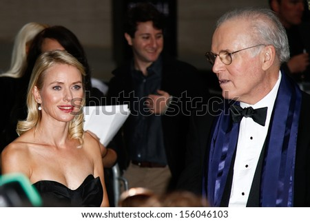 "NEW YORK-SEP 27: Actress Naomi Watts and Charles Grodin are seen filming ""While We're Young"" September 27, 2013 in New York City. - stock photo"