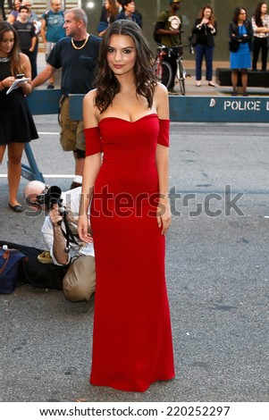 "NEW YORK-SEP 26: Model Emily Ratajkowski attends the world premiere of ""Gone Girl"" at the 52nd New York Film Festival at Alice Tully Hall on September 26, 2014 in New York City. - stock photo"