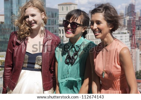 NEW YORK - SEPT 10: Kaitlyn Jenkins, Ann Yee, and India De Beaufort at the ANN YEE Spring/Summer 2013 collection presentation during Mercedes-Benz Fashion Week in New York on September 10, 2012. - stock photo