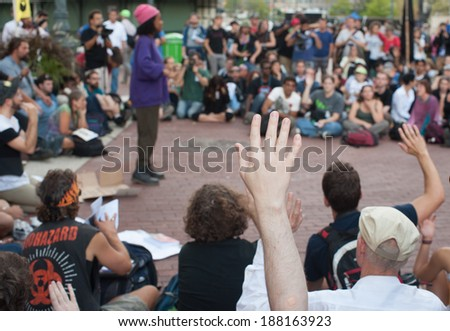 NEW YORK - SEPT 16 2012: Occupy Wall Street Protesters organising marches for the one  year anniversary of protest in Zuccotti Park in New York city - stock photo