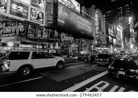 NEW YORK - SEPTEMBER 25: area near Times Square on September 26, 2011 in New-York, USA. Times Square is a major commercial intersection and a neighborhood in Midtown Manhattan - stock photo