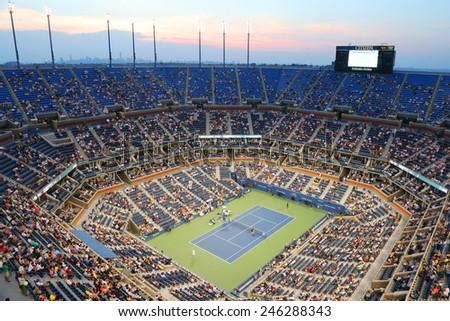 NEW YORK - SEPTEMBER 2, 2014 Arthur Ashe Stadium during US Open 2014 night match at Billie Jean King National Tennis Center in New York  - stock photo