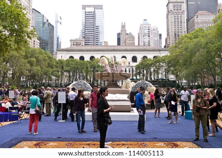 NEW YORK - SEPTEMBER 27:  Bryant Parks Fountain transformed with a wool sculpture during The Campaign for Wool to Bring Grazing Sheep to Bryant Park September 27, 2012 in New York City. - stock photo