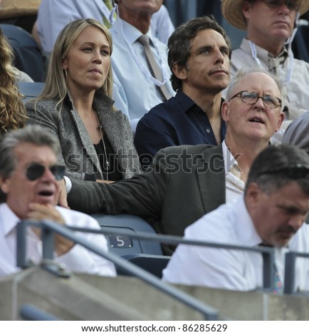 NEW YORK - SEPTEMBER 12: Christine Taylor, Ben Stiller, John Lithgow attend final match between Novak Djokovic of Serbia and Rafael Nadal of Spain at US Open on September 12, 2011 in New York City, NY. - stock photo