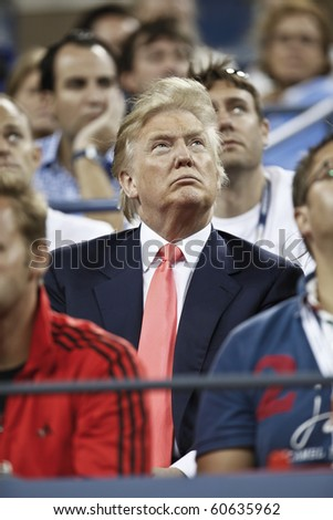 NEW YORK - SEPTEMBER 08: Donald Trump attends quarterfinal match between Caroline Wozniacki of Denmark and Dominika Cibukova of Slovakia at US Open tennis tournament on September 08, 2010, New York - stock photo