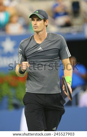 NEW YORK - SEPTEMBER 3, 2014: Grand Slam Champion Andy Murray during US Open 2014 quarterfinal match against Novak Djokovic at Billie Jean King National Tennis Center in New York - stock photo