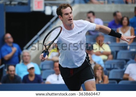 NEW YORK - SEPTEMBER 3, 2015: Grand Slam Champion Andy Murray in action during US Open 2015 second round  match at Billie Jean King National Tennis Center in New York - stock photo