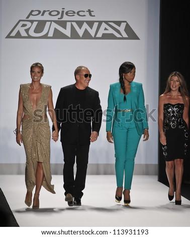 NEW YORK - SEPTEMBER 7: Heidi Klum, Michael Kors, Jennifer Hudson, Nina Garcia walk the runway for Project Runway Collection during Spring/Summer 2013 at Mercedes-Benz Fashion Week on Sep 7 2012 in NY - stock photo