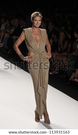 NEW YORK - SEPTEMBER 07: Heidi Klum  walks the runway for Project Runway Collection during Spring/Summer 2013 at Mercedes-Benz Fashion Week on September 07, 2012 in New York - stock photo