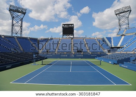 NEW YORK - SEPTEMBER 7, 2014: Luis Armstrong Stadium at the Billie Jean King National Tennis Center during US Open 2014 tournament in New York - stock photo