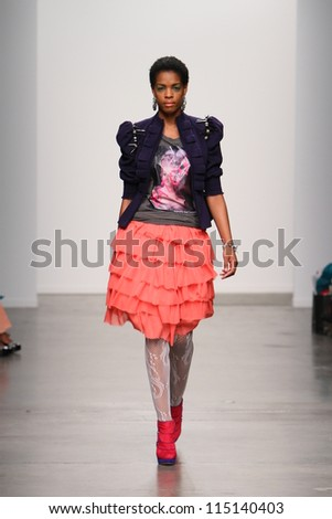 NEW YORK- SEPTEMBER 12: Model walks runway at Studio 6th Sense show for S/S 2013 during Nolcha Fashion Week on September 12, 2012 in New York City, NY - stock photo