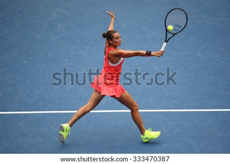 NEW YORK - SEPTEMBER 12, 2015: Professional tennis player Roberta Vinci of Italy in action during her final match at US Open 2015 at National Tennis Center in New York - stock photo