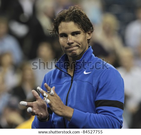 NEW YORK - SEPTEMBER 12: Rafael Nadal after final match against Novak Djokovic of Serbia at USTA Billie Jean King National Tennis Center on September 12, 2011 in NYC - stock photo