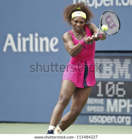 NEW YORK - SEPTEMBER 03: Serena Williams of USA returns ball during 4th round match against Andrea Hlavackova of Czech Republic at US Open tennis tournament on September 3, 2012 in Flashing New York - stock photo