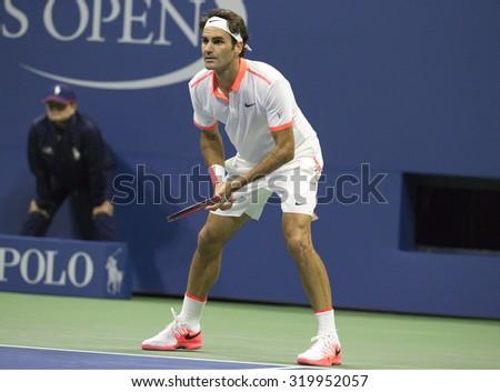 NEW YORK -SEPTEMBER 13, 2015: Seventeen times Grand Slam champion Roger Federer of Switzerland in action during US Open 2015 men's final match against Novak Djokovic at National Tennis Center in NY - stock photo