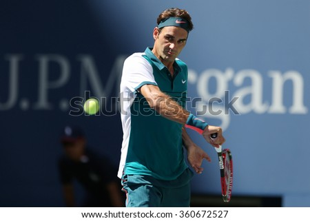 NEW YORK -SEPTEMBER 5, 2015: Seventeen times Grand Slam champion Roger Federer of Switzerland in action during his third round match at US Open 2015 at National Tennis Center in NY - stock photo