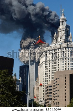 NEW YORK - SEPTEMBER 11 - South Tower of the World Trade Center disintegrates into cloud of debris as it collapses from terrorist attack on September 11, 2001 at 9:59 am in New York. - stock photo
