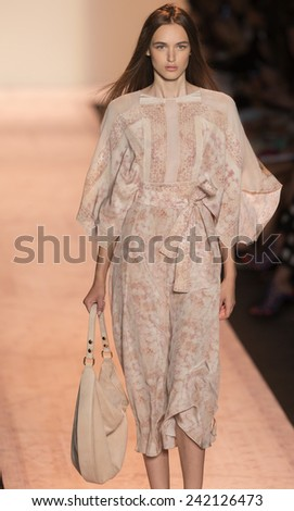 NEW YORK - SEPTEMBER 04 2014: Stasha Yatchuk is walking the runway at BCBGMAXAZRIA Spring 2015 Ready-to-Wear Show during Mercedes-Benz Fashion Week at Lincoln Center - stock photo