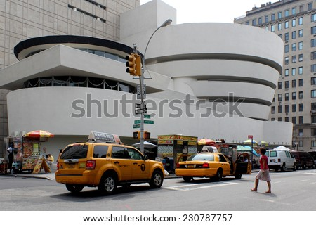 NEW YORK - SEPTEMBER 01: The Solomon R. Guggenheim Museum of modern and contemporary art, located in Manhattan, on September 01, 2013, in New York City, USA. Designed by Frank Lloyd Wright.  - stock photo