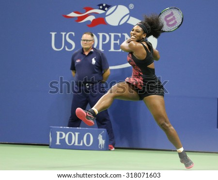 NEW YORK - SEPTEMBER 8, 2015: Twenty one times Grand Slam champion Serena Williams in action during her quarterfinal match against Venus Williams at US Open 2015 at National Tennis Center in New York - stock photo