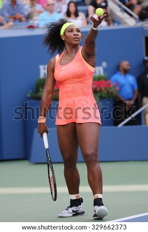 NEW YORK - SEPTEMBER 6, 2015: Twenty one times Grand Slam champion Serena Williams in action during her round four match at US Open 2015 at National Tennis Center in New York - stock photo