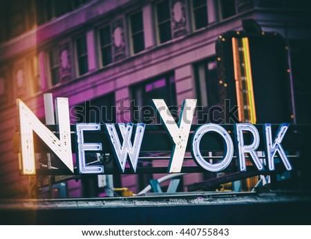 New York signage made from neon tubes with filter effect - stock photo