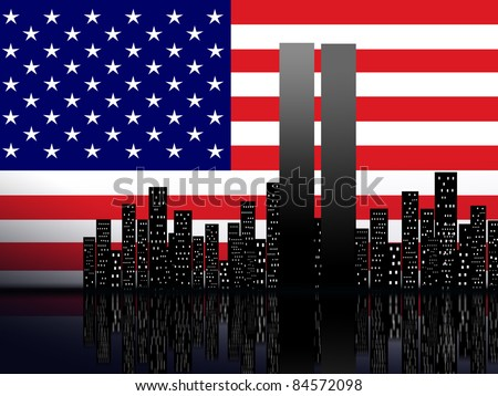 New York silhouette against the background of the American flag - stock photo
