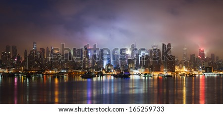 New York skyline at night - stock photo