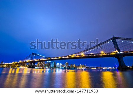 New York Skyline at Night, New York City, USA - stock photo