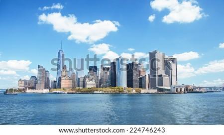 New York skyline downtown manhattan - stock photo