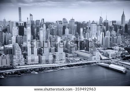 New York skyline in black and white. - stock photo