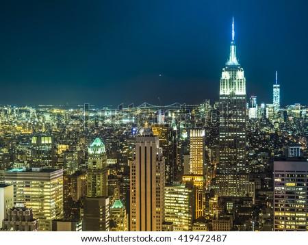 New York skyline in the night - stock photo