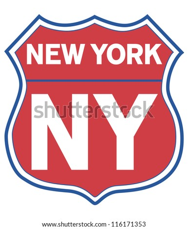 New York State Road Shield in Red and Blue - stock photo
