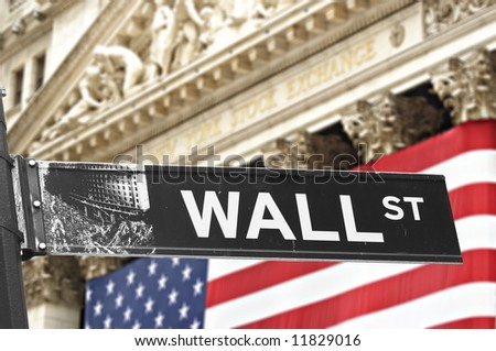 New York Stock Exchange with Wall street sign in front - stock photo