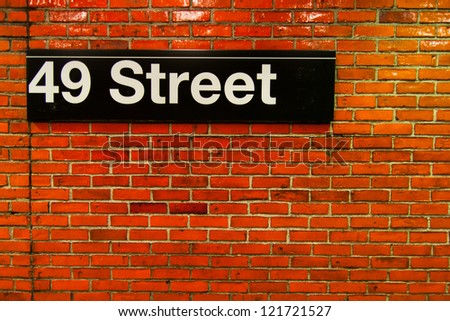 new york subway brick wall background - stock photo