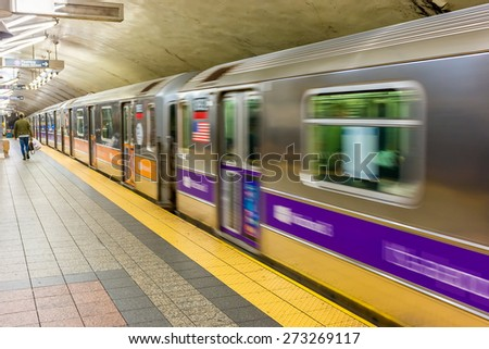 New York subway station fast moving. - stock photo