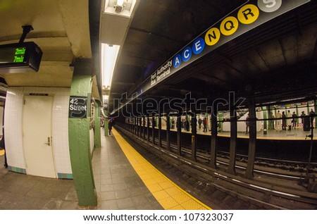 New York subway, Train station - U.S.A. - stock photo