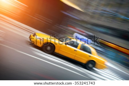 New York taxi in motion - stock photo