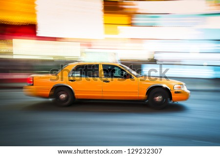 New York Taxi in Times Square - stock photo