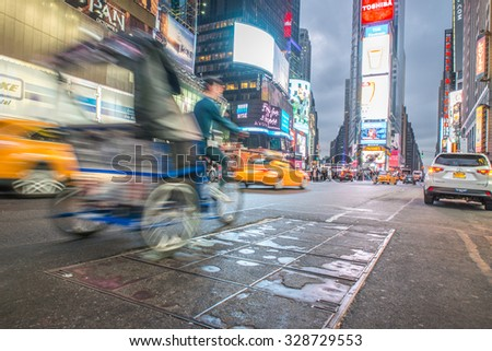 New york, Time square. 28th september, 2015. Time square cross. Times Square is a major commercial intersection and neighborhood in Midtown  - stock photo