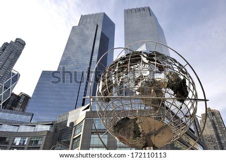 NEW YORK,U.S.A.-NOVEMBER 15,2012; Globe at Columbus Circle, Manhattan, New York. November 15,2012,New York - stock photo