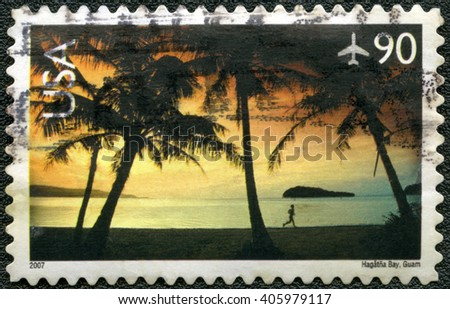 NEW YORK, UNITED STATES OF AMERICA - JUNE 01, 2007: A stamp printed in USA shows Hagatna Bay, Guam - stock photo