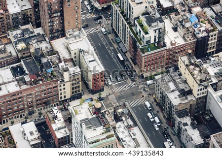 NEW YORK, USA - Apr 28, 2016: Streets and roofs of Manhattan. New York City Manhattan midtown view - stock photo