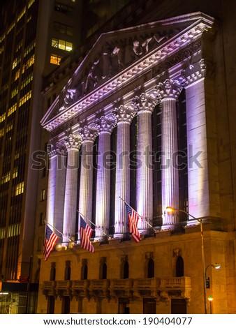 NEW YORK, USA - 2014 APRIL 24: New York Stock Exchange on Wall Street at night - stock photo